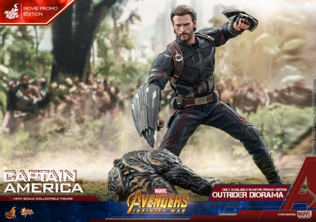 Avengers Infinity War Hot Toys Movie Promo Captain America Figure with Outrider Base