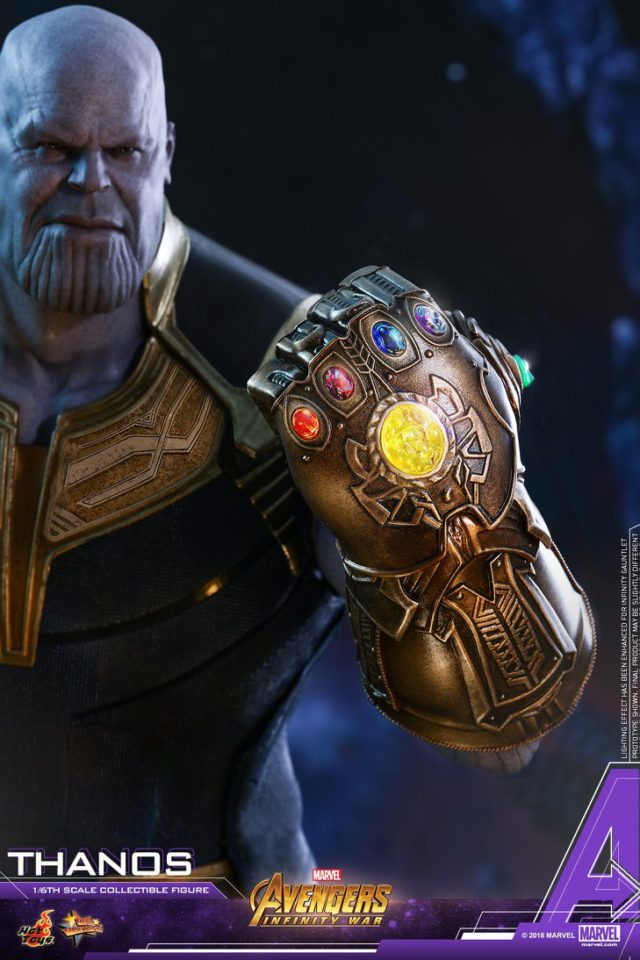 Close-Up of Hot Toys Infinity Gauntlet on Thanos Sixth Scale Figure