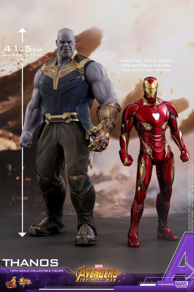 Hot Toys Infinity War Thanos Figure Size Scale Comparison with Iron Man Figure