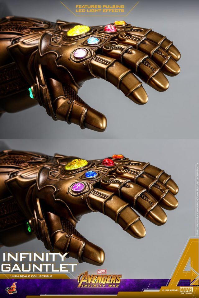 Hot Toys Quarter Scale Infinity Gauntlet Pulsing LED Lights