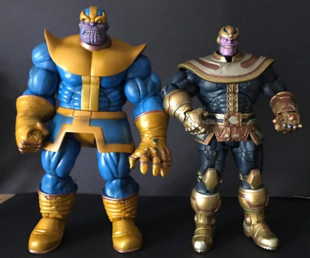 Marvel Select Modern Thanos Figure Size Comparison with Classic Thanos Figure DST