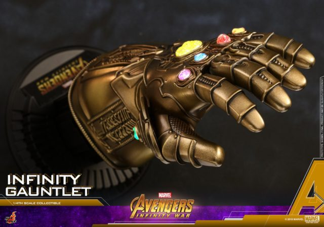 Overhead View of Avengers Infinity War Hot Toys Infinity Gauntlet Quarter Scale Replica