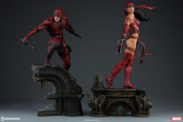 Sideshow 2018 Daredevil and Elektra Premium Format Statues Together