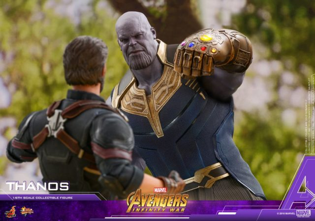 Thanos Hot Toys Sixth Scale Figure Punching Captain America with Infinity Gauntlet