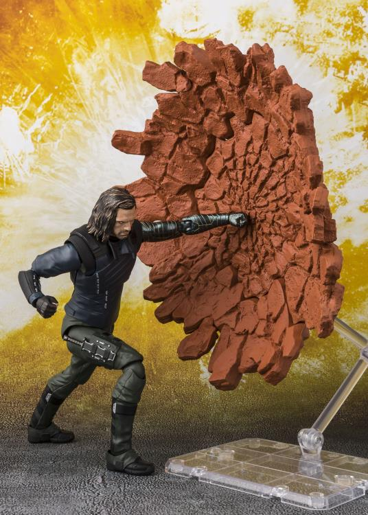 SH Figuarts Bucky Winter Soldier with Punching Ground Effects Piece