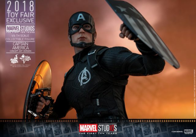 Concept Art Captain America Hot Toys Figure with Two Shields