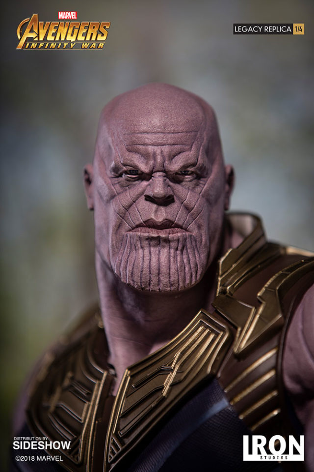 Close-Up of Face on Thanos Iron Studios Legacy Replicas Statue 28 Inches Tall