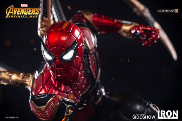 Close-Up of Iron Studios Iron Spider-Man Statue