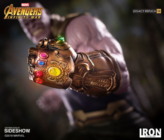 Close-Up of Iron Studios Thanos Statue LED Infinity Gauntlet