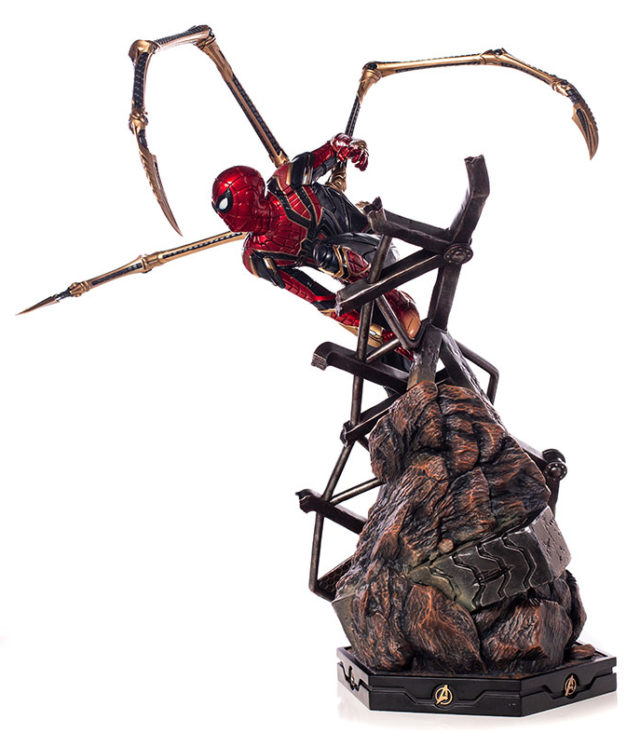 Side View of Iron Studios Iron Spider Statue