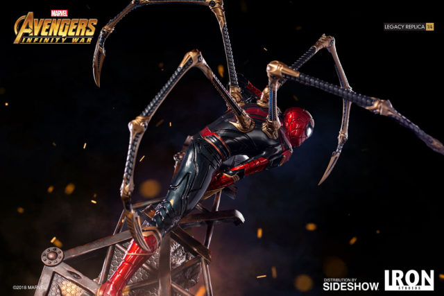 Side of Iron Studios Iron Spider Statue Legacy Replicas