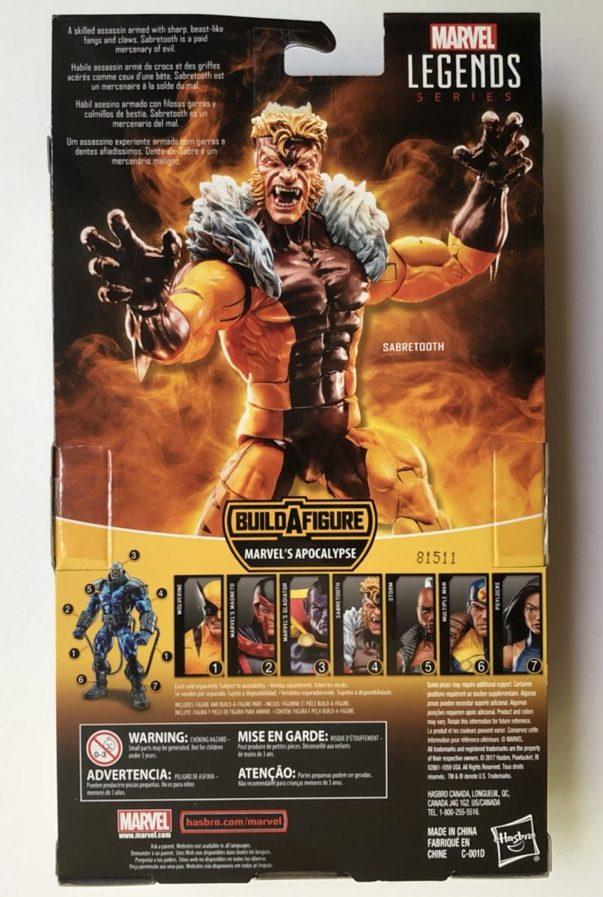 Box Back Hasbro X-Men Legends Sabertooth