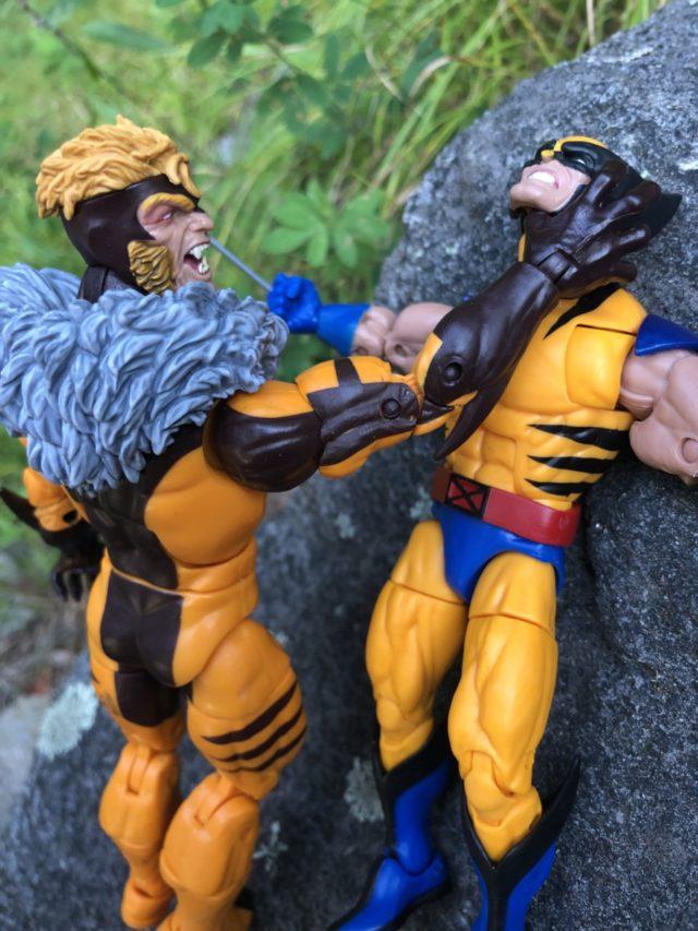 "2018 Marvel Legends Sabertooth Hasbro 6"" Figure Choking Wolverine"