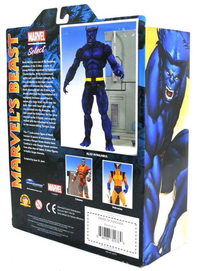 Back of Beast Marvel Select Figure Packaging Diamond Select Toys