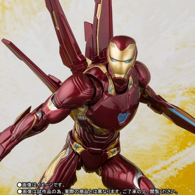 Close-Up of Figuarts Mark 50 Iron Man with Nano Weapons