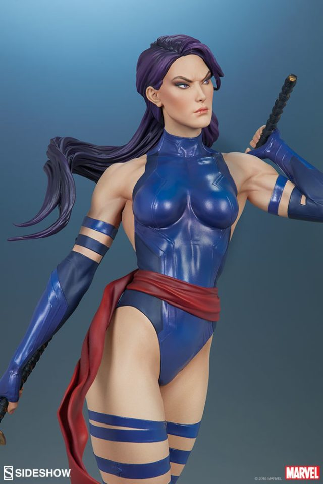Close-Up of Sideshow Psylocke Premium Format Figure Statue