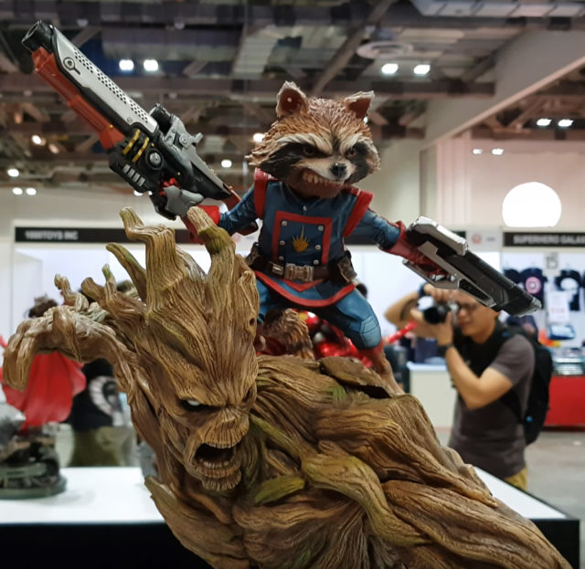 Close-Up of XM Studios Rocket Raccoon and Groot Statue