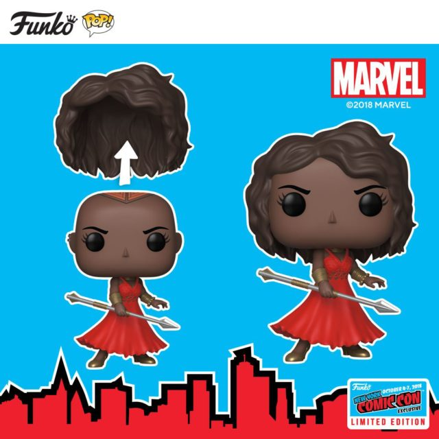 Funko NYCC 2018 Marvel Exclusive Okoye POP with Wig and Red Dress