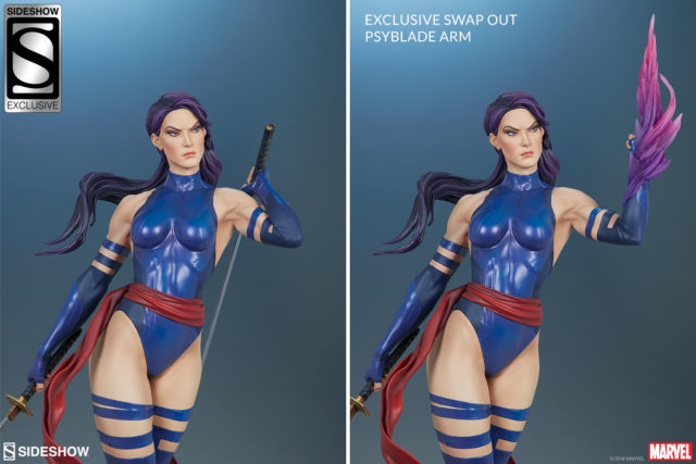 Sideshow Psylocke EX Swap Out Psyblade Arm Comparison Photo