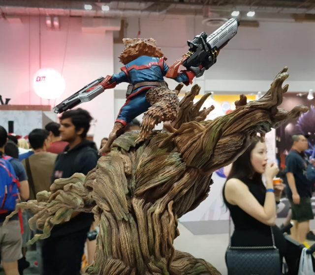 XM Studios Groot Rocket Raccoon Statue Back