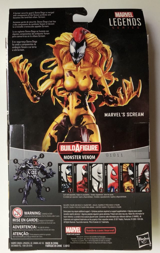 Back of Scream Marvel Legends Figure Box