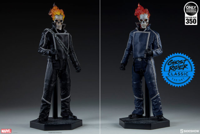 Comparison of Sideshow Collectibles Blue and Black Ghost Rider 12 Inch Figures