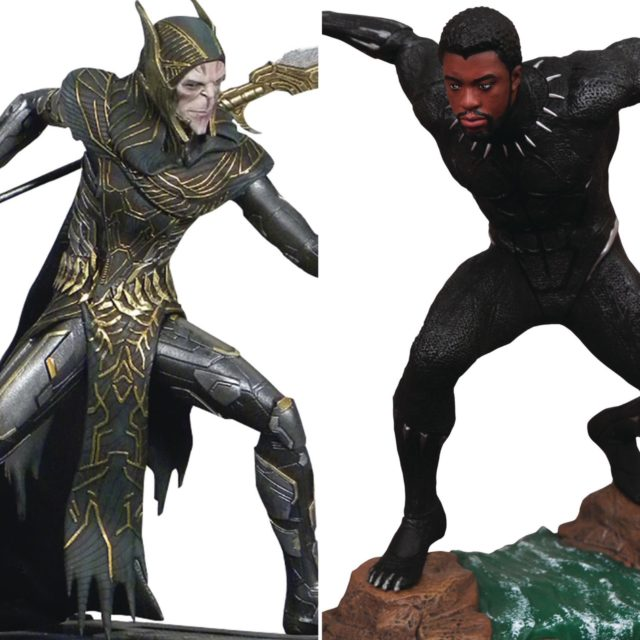 Marvel Gallery Corvus Glaive and Unmasked Black Panther PVC Statues