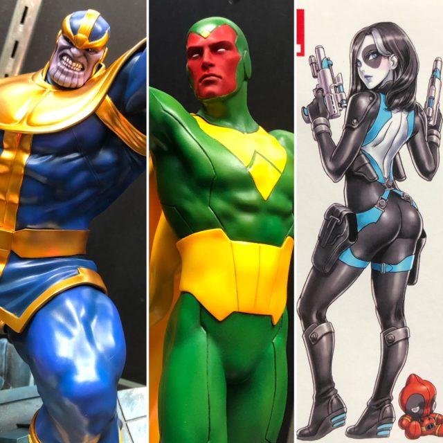 NYCC 2018 Kotobukiya Booth Marvel Statues Thanos Vision Domino