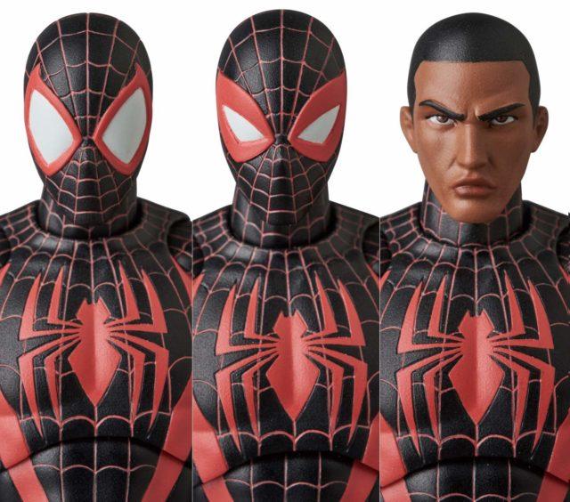 MAFEX Spider-Man Miles Morales 6 Inch Figure Alternate Heads