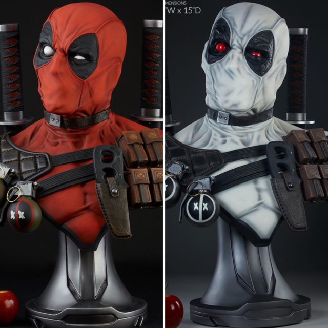 Sideshow Collectibles Life Size Deadpool Busts Comparison Photo Red and Grey X-Force