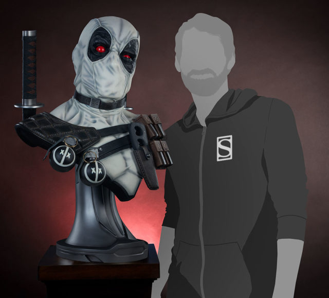 Sideshow Collectibles X-Force Deadpool Bust Size Comparison with Human
