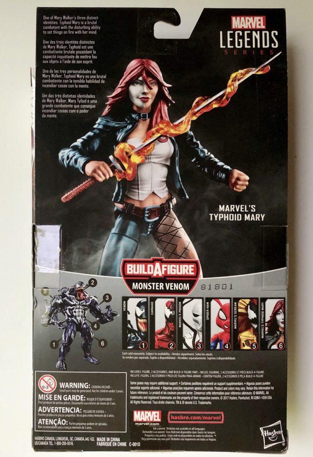 "Box Back Marvel Legends Typhoid Mary 6"" Figure"