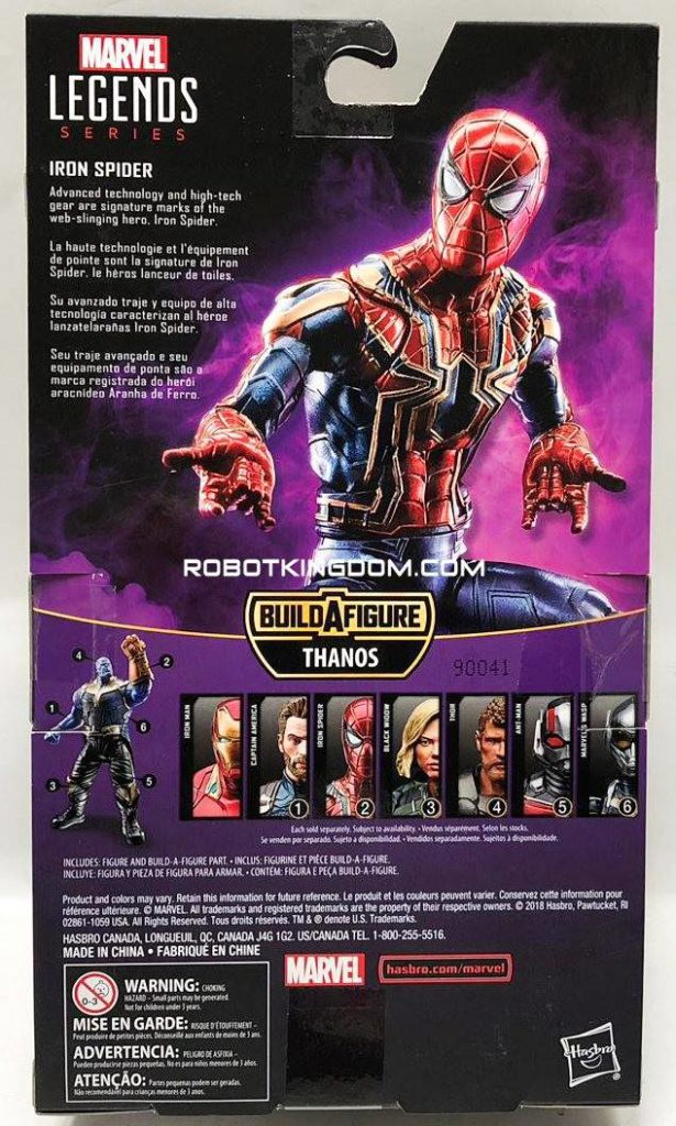 Back of Box Iron Spider Best of Marvel Legends 2019 Figure Thanos Series