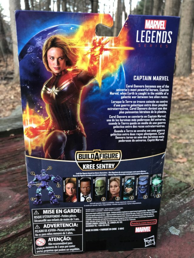 "Box Back Hasbro Captain Marvel ML 6"" Figure"