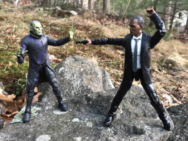 Captain Marvel Legends Nick Fury Figure Shooting Talos Skrull