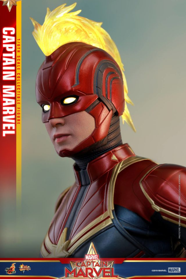 Close-Up of Hot Toys Captain Marvel Masked Head with Mohawk