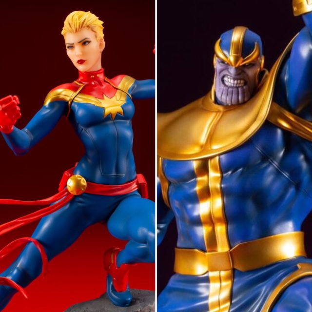 Kotobukiya ARTFX+ Thanos and Captain Marvel Figures