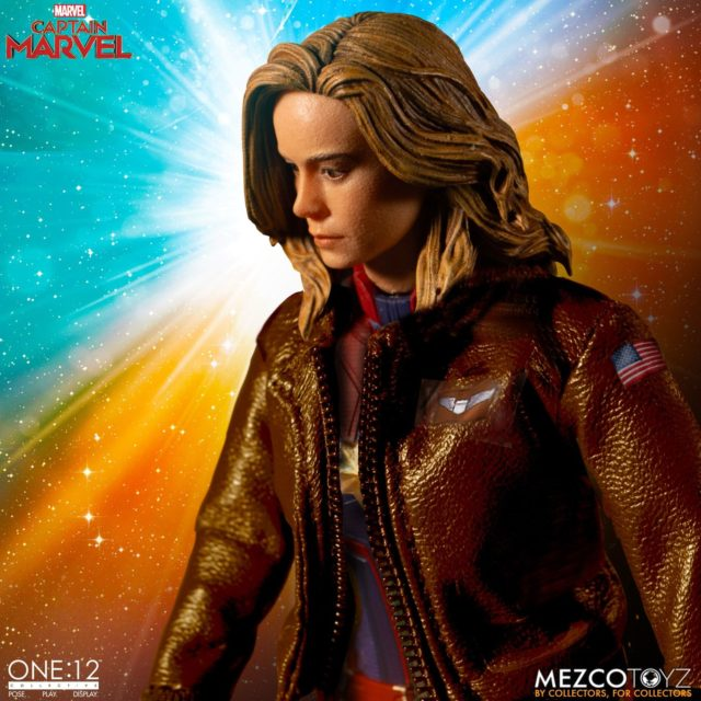 Mezco ONE 12 Collective Captain Marvel Figure in Bomber Jacket
