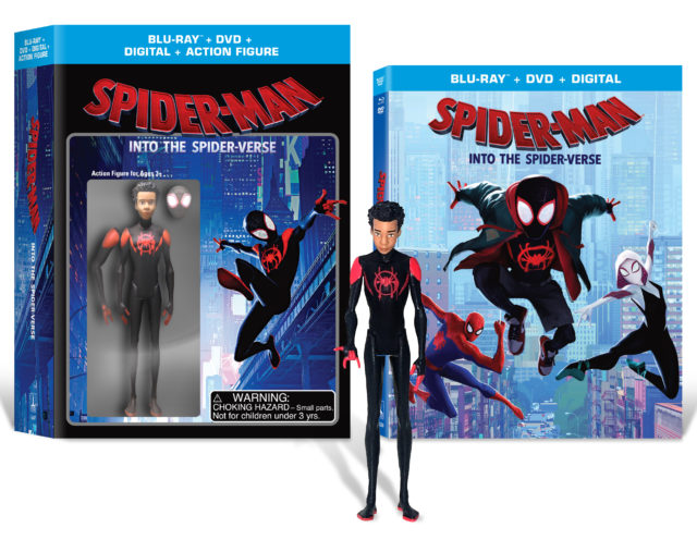 Walmart Exclusive Into the SpiderVerse Miles Morales Figure and Blu Ray Combo Pack