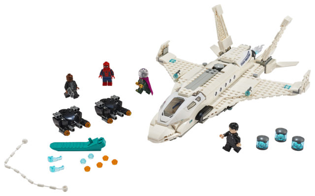 76130 LEGO Spider-Man Stark Jet and the Drone Attack Set Mysterio Nick Fury Happy Hogan Minifigures