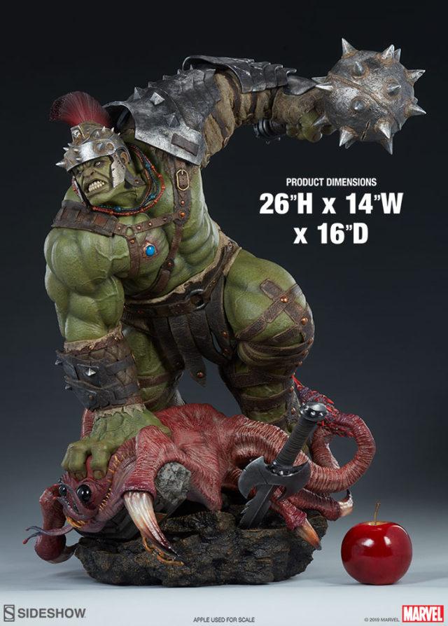 Sideshow Gladiator Hulk Statue Size Comparison with Apple