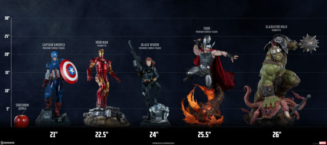 Size Comparison Sideshow Avengers Statues with Gladiator Hulk