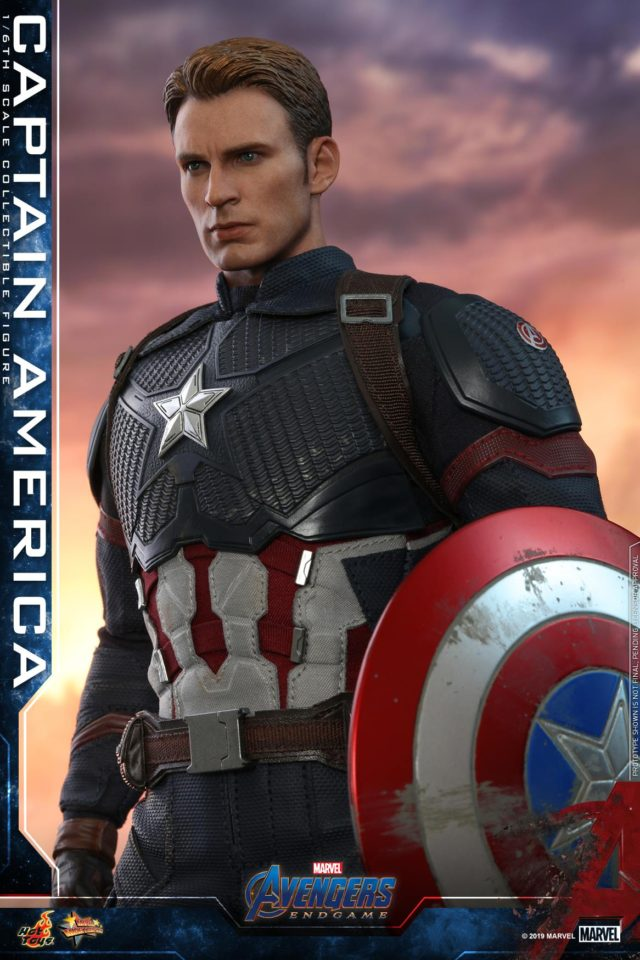 Unmasked Steve Rogers Chris Evans Head on Hot Toys Avengers Endgame Captain America