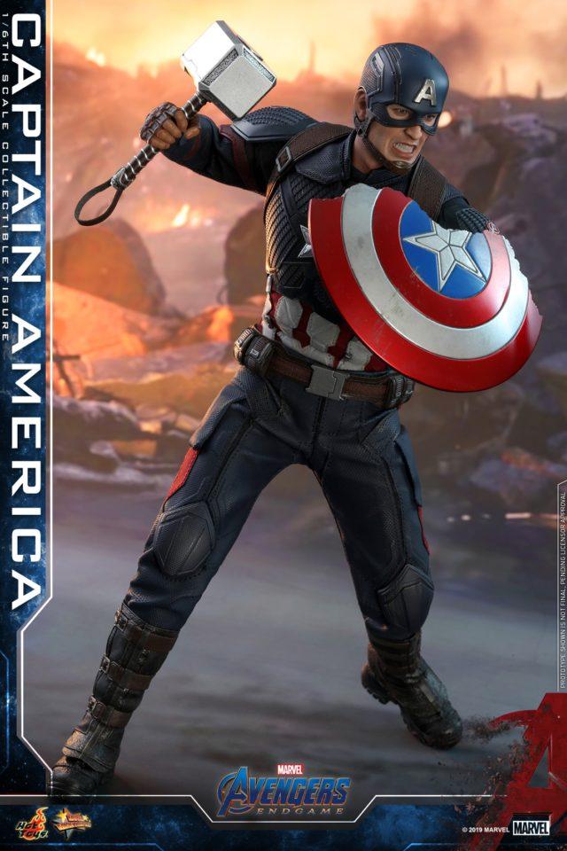 Avengers Endgame Hot Toys Captain America with Mjolnir Hammer and Broken Shield