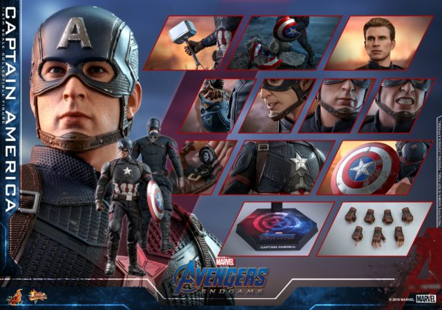 Hot Toys Endgame Captain America Accessories Including Mjolnir and Broken Shield