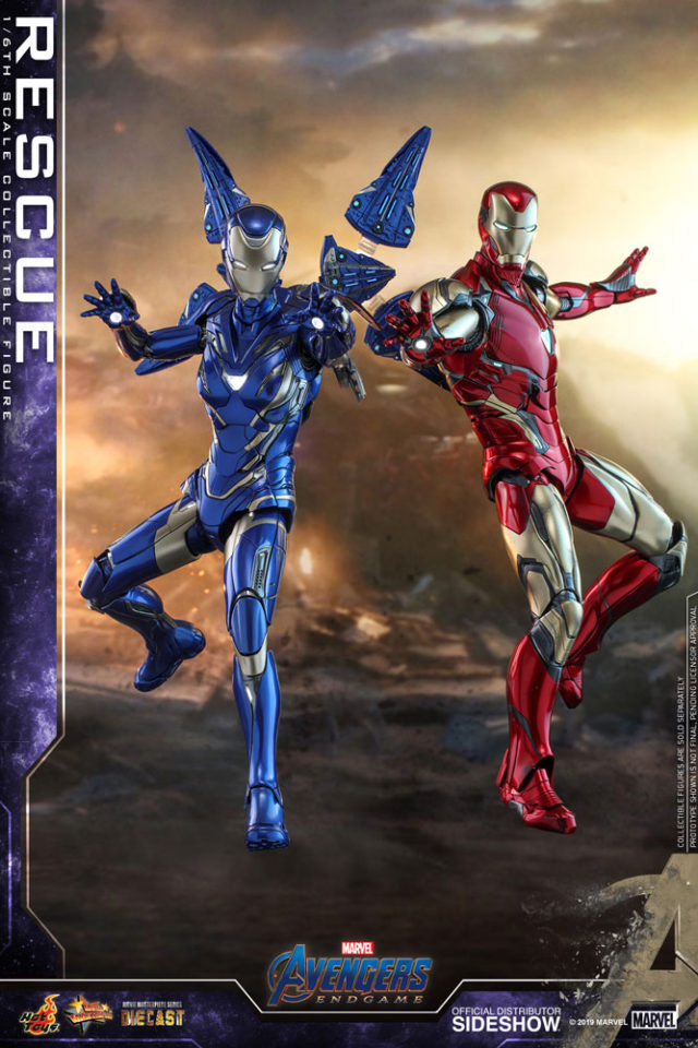 Hot Toys Rescue Iron Man Mark 85 Figures Displayed Together