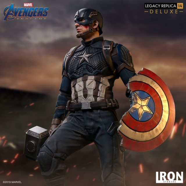 Iron Studios Captain America with Mjolnir and Broken Shield Legacy Replicas Statue