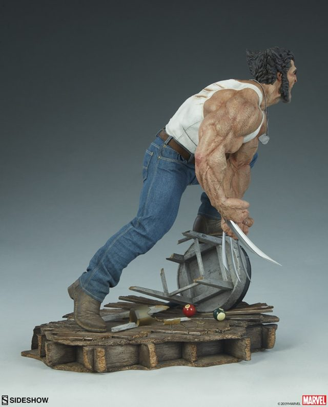 Side View of Premium Format Logan Wolverine Statue Sideshow 2019