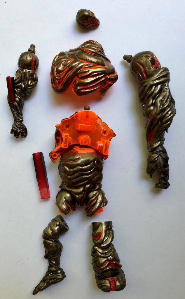 Unassembled Pieces of Spider-Man Legends Molten Man Figure