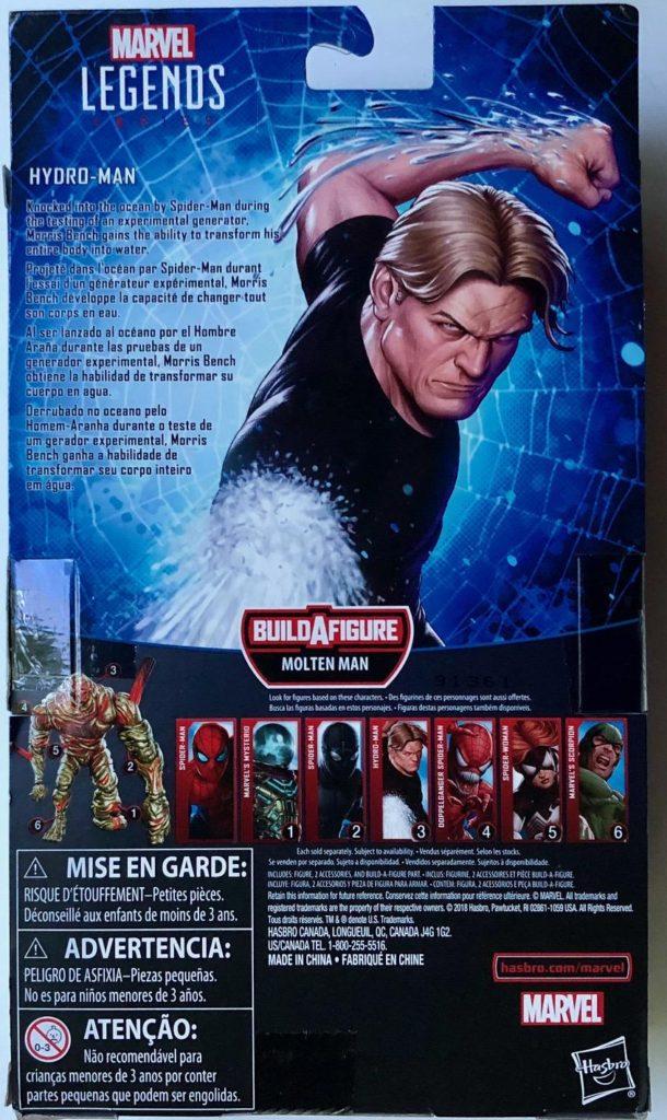 Box Back Hasbro Spider-Man Marvel Legends Molten Man Figure